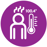 Icon of a person with a fever of 100.4 shown on a thermometer