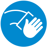 A white icon on a blue circle with a hand wiping a surface