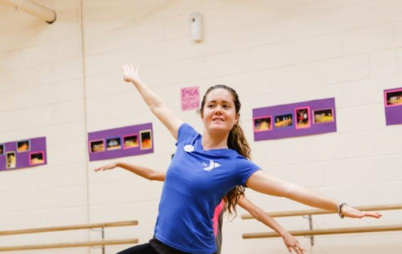 A YMCA dance instructor teaches a ballet pose during a dance class at Oscar Lasko YMCA in West Chester, PA.