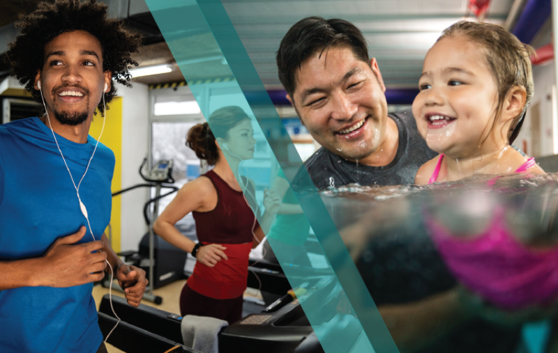 A collage image of a girl and her father swimming in the pool a man and woman running on treadmills.