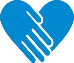 An icon of two blue hands in the shape of a heart.