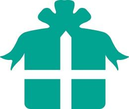 An icon of a teal gift with bow.