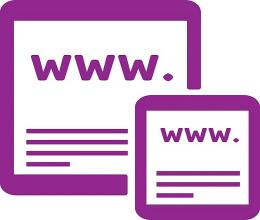 A purple tablet and mobile phone viewing a Website.