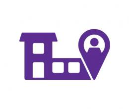 Location icon with building