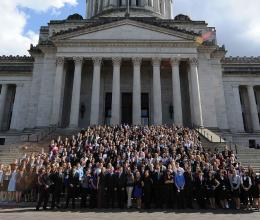 YMCA Youth and Government participants at the capital where they served as delegates at the state conference.