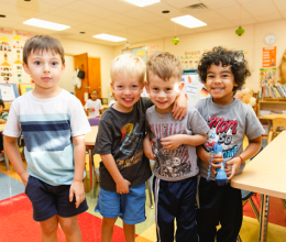 Kids in the preschool program at Oscar Lasko YMCA and Childcare Centers onsite daycare facility