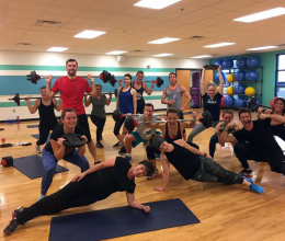 YMCA Members share silly poses after a group exercise class lifting weights, doing yoga poses and more.